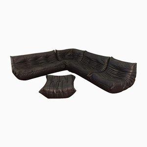 Black Leather Togo Sofa Set by Michel Ducaroy for Ligne Roset, 1974