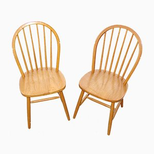 Vintage Wooden Chairs, 1980s, Set of 2