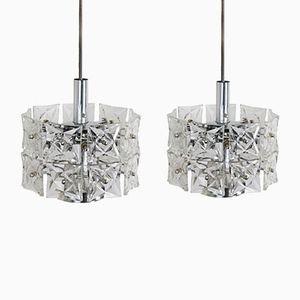 German Geometric Modern Crystal Lights from Kinkeldey, 1970s, Set of 2