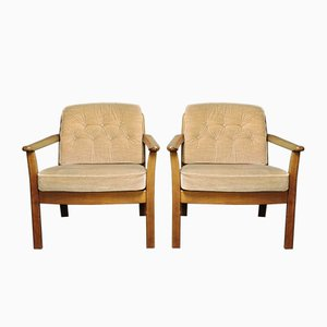 Danish Wooden Easy Chairs, 1960s, Set of 2
