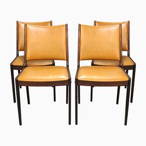 Chaises de Salle à Manger en Cuir Cognac & Acajou, 1960s, Set de 4