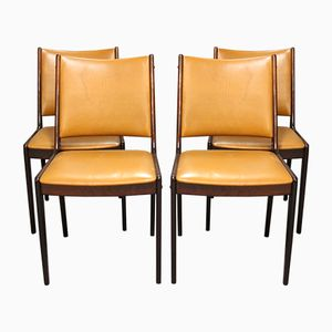 Mahogany & Cognac Leather Dining Chairs, 1960s, Set of 4