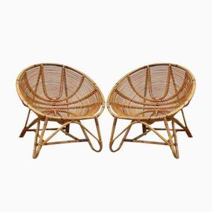 Niederländische Vintage Rattan Bambus Stühle von Rohe Noordwolde, 1960er, 2er Set