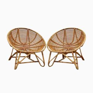 Vintage Dutch Rattan Bamboo Lounge Chairs from Rohe Noordwolde, 1960s, Set of 2