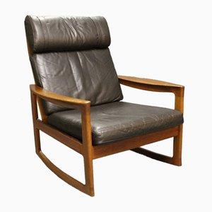 Sedia a dondolo in teak e di pelle nera di Ole Wanscher per Komfort, anni '60