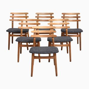 Eichenholz Esszimmerstühle von Poul Volther, 1950er, 6er Set