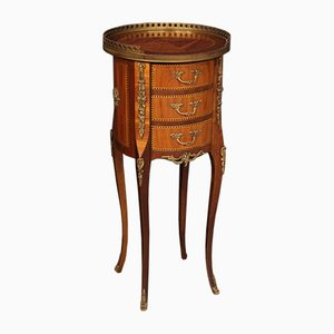 French Inlaid Night Stand with Bronzes, 1950s