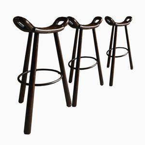 Vintage Oak Industrial Saddle Bar Stools, Set of 3