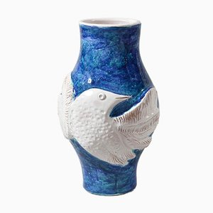 Large Blue and White Ceramic Vase by the Cloutier Brothers, 1960s