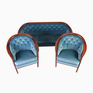 Mid-Century Velvet Sofa & Chairs by Bröderna Andersson