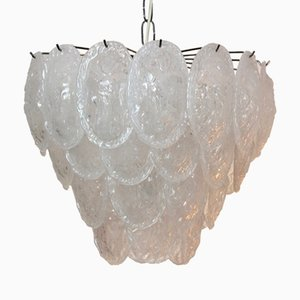 Murano Frosted Glass Leaves Chandelier from A.V. Mazzega, 1970s