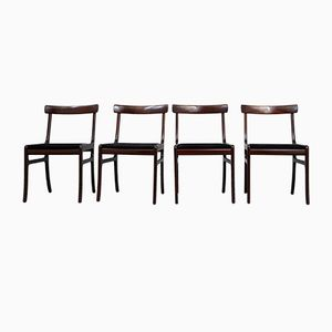 Model Rungstedlund Mahogany Chairs by Ole Wanscher for Poul Jeppesen, Set of 4