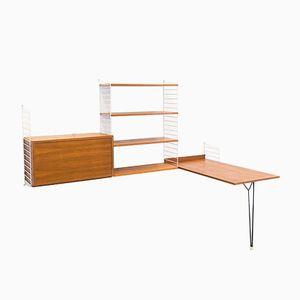 Libreria modulare vintage in teak con tavolo di Nisse e Kajsa Strinning per String Design AB