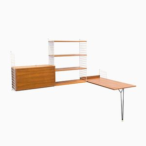 Vintage Teak Wall Unit with Table by Nisse & Kajsa Strinning for String Design AB