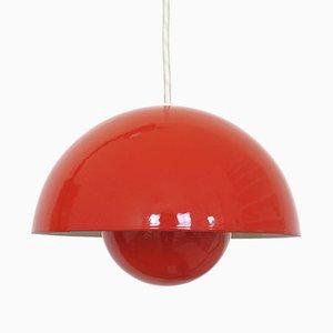 Suspension Luminaire Rouge en Forme de Pot de Fleur par Verner Panton pour Louis Poulsen, 1960s