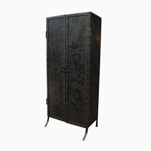 Industrieller Vernieteter Metall Schrank mit Zwei Türen, 1900er