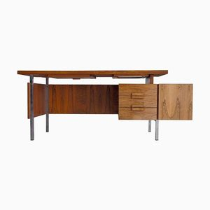 Dänischer Moderner Vintage Palisander Schreibtisch mit Stahlgestell