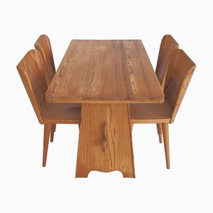 Table de Salle à Manger et Quatre Chaises par Göran Malmvall pour Karl Andersson & Söner, 1940s