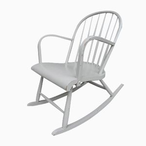 Vintage Grey Wooden Rocking Chair, 1950s
