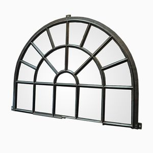 Antique Industrial Iron Factory Window with Mirror, 1900s