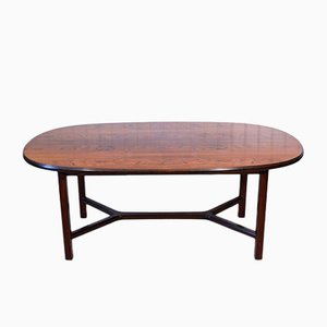 Norwegian Oval Solid Rosewood Coffee Table by Torbjørn Afdal for Bruksbo, 1972