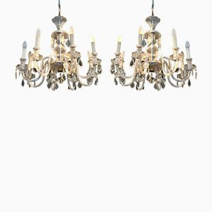 Glass & Crystal Chandeliers, 1950s, Set of 2