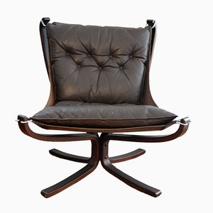 Brown Falcon Chair by Siggurd Ressell for Vatne Møbler