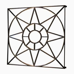 Industrieller Viereckiger Spiegel aus Metall und Glas, 1930er