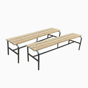 Industrial Metal and Beech Bench, 1950s