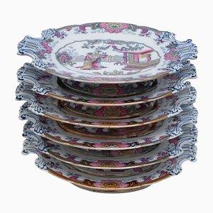 Assiettes Antiques de Boch Freres Keramis, Set de 6