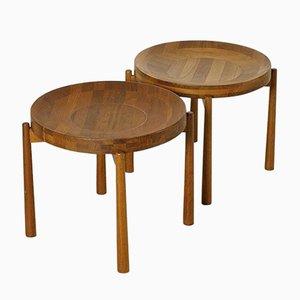 Vintage Round Teak Side Tables by Jens Quistgaard, Set of 2