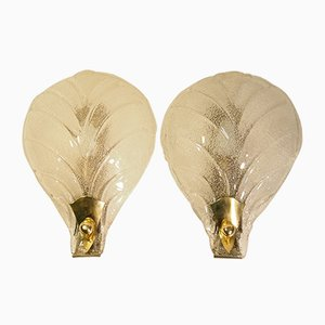 Mid-Century Wandlampe mit Texturierten Muranoglas Blättern von Ercole Barovier, 2er Set