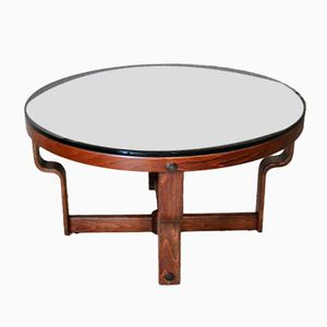 Norwegian Round Table with Black Glass and Rosewood from Vad, 1974