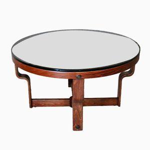 Runder Norwegischer Tisch aus Schwarzem Glas und Palisander von Vad, 1974
