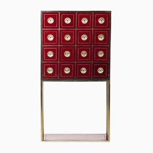 Vintage Burgundy Cabinet with 16 Drawers