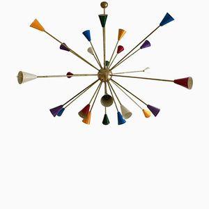 Großer Vintage Sputnik Kronleuchter mit 24 Farbigen Leuchten