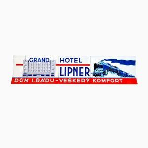 Insegna funzionalista smaltata del Lipner Grand Hotel, anni '30