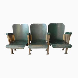 Art Deco Row of Three Cinema Seats, 1920s