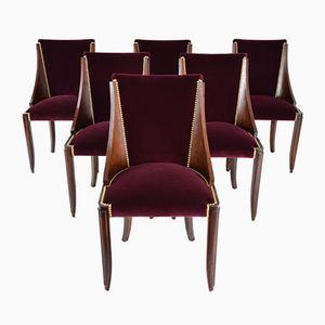 Französische Vintage Art Deco Esszimmerstühle, 6er Set