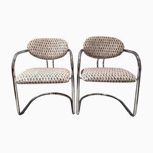 Italienische Vintage Stühle aus Rohrstahl, 2er Set
