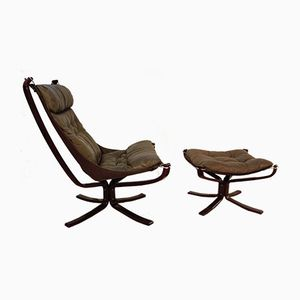 Norwegian Falcon Chair and Footstool by Sigurd Ressell for Vatne Mobler, 1979