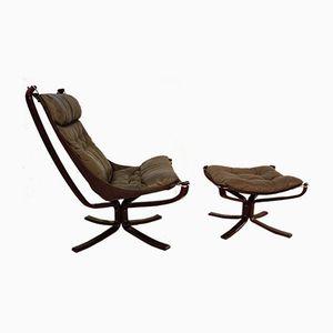 Norwegischer Falcon Chair mit Fußhocker von Sigurd Ressell für Vatne Mobler, 1979