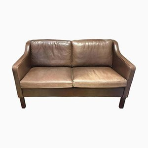 Two-Seater Brown Leather Sofa from Mogens Hansen