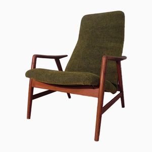 Vintage Scandinavian Teak & Fabric Armchair by Alf Svensson for Fritz Hansen