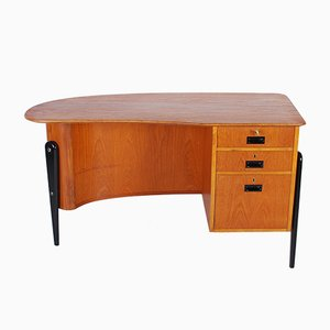 Mid-Century Finnish Three Legged Teak Desk