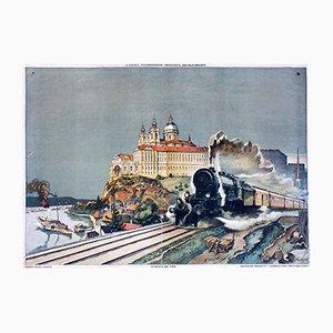 Abstrakte Donautal mit Melk Wandtafel von Josef Danilowatz für Jugend und Volk, 1924