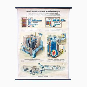 Wall Chart Depicting a Nuclear Reactor by Dr. Te Neues & Co, 1955