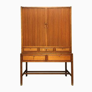 Mid-Century Swedish Teak Cabinet with Tambour Doors from Bodafors