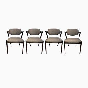 Vintage Model 42 Rosewood Dining Chairs by Kai Kristiansen, Set of 4