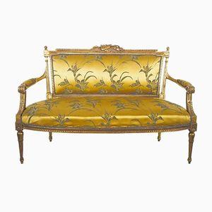 Canapé 19ème siècle Louis XVI en Bois Doré et en Soie